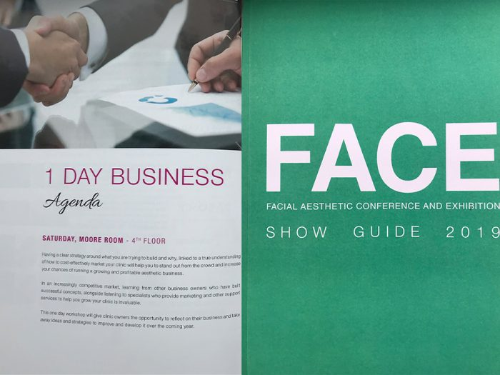Face guide, conference booklet
